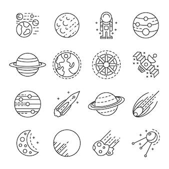 Planeten-icon-set. umrisssatz planetenvektorikonen