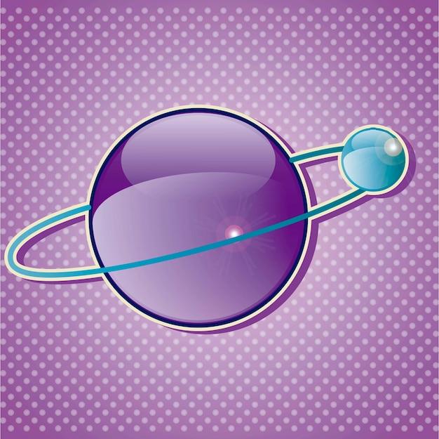 Planeten-ikonen mit glaseffektvektorillustration