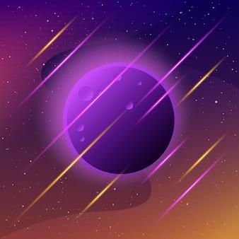 Planeten im weltraum abstrakte imaginäre planeten für die einladung zur wissenschaftlichen konferenz der designkarte