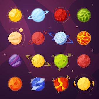 Planeten im weltraum cartoon illustrationen gesetzt