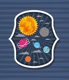 Planeten über gestreiftes etikett