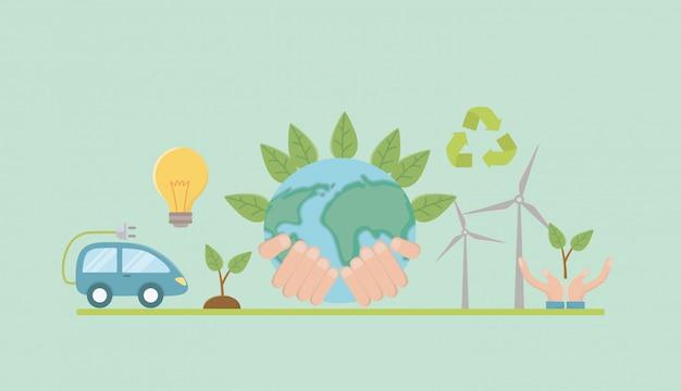 Planeten- und energieeinsparungselement-bühnenbild