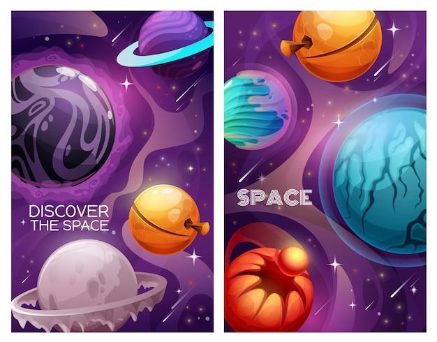 Planeten und sterne im weltraum