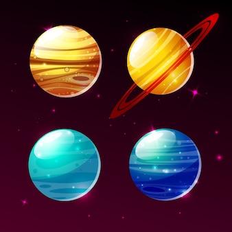 Planeten von galaxieillustrationsikonen von karikatur mars, mercury oder venus und saturn-ringe