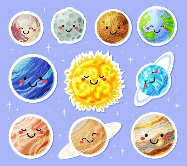 Planetenaufkleber cartoon planeten mit niedlichen gesichtern sonne erde mond mars aufkleber sonnensystem charaktere