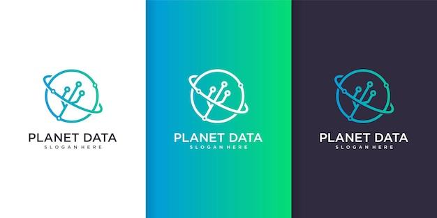 Planetendatenlogo mit linie kunsttechnologiekonzept-designschablone premium-vektor