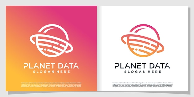 Planetendatenlogo mit modernem konzept premium-vektor