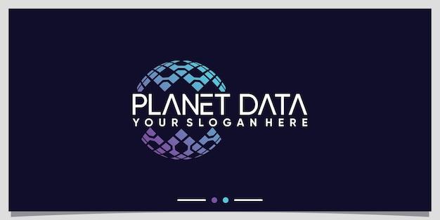 Planetendatentechnologie-logo-design für geschäftsunternehmen premium-vektor
