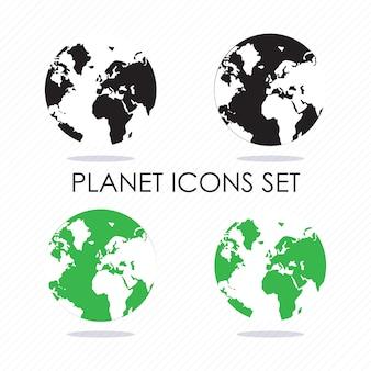 Planetenikonenschattenbilder schwarz und grüne vektorillustration