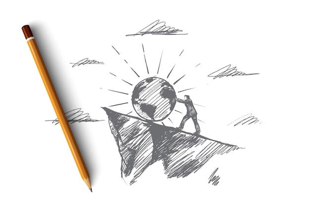 Planetenkonzept. hand gezeichnetes symbol des planeten und des menschen, der es nach oben drückt. selbstbewusster männlicher pilot. isolierte darstellung der interaktion zwischen mensch und umwelt.
