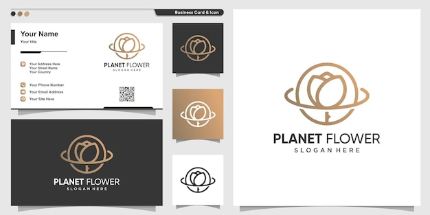 Planetenlogo mit schönheitsluxusblumenlinie kunstart premium-vektor