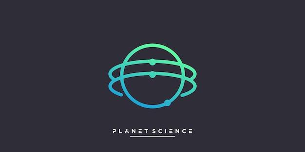 Planetenlogo mit wissenschafts- und molekülkonzept premium-vektor teil 1