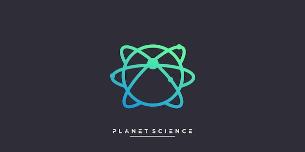 Planetenlogo mit wissenschafts- und molekülkonzept premium-vektor teil 2