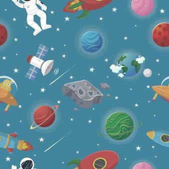 Planetenmuster mit sternbildern und sternen. astronaut mit rakete und alien im offenen raum