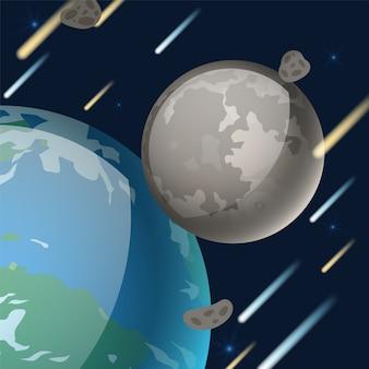 Planetensystem, natürliche erdsatellitenillustration. weltraumobjekt, das sich neben der erde dreht. mondgraue oberfläche, krater