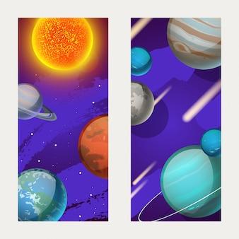 Planetensystem, planetenbewegung um die sonnenillustration. merkur, venus, erde und mars in der weltraumgalaxie, postkarte