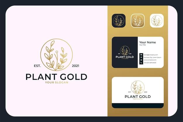 Plant gold luxury line art logo-design und visitenkarte