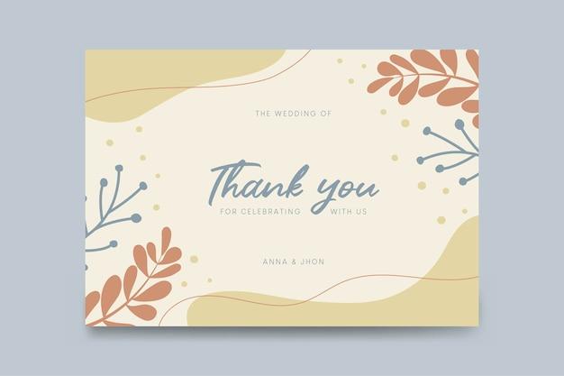 Plantilla de agradecimiento tarjeta de bodas