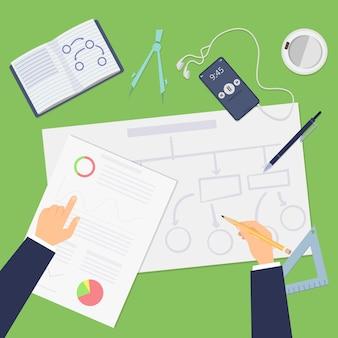 Planung. agiles konzept, businessplan von oben oder startup-projekt. hände, die finanzpläne-vektorillustration zeichnen. geschäftsentwicklung und -strategie, diagrammflussmodell, bereitstellung und planung
