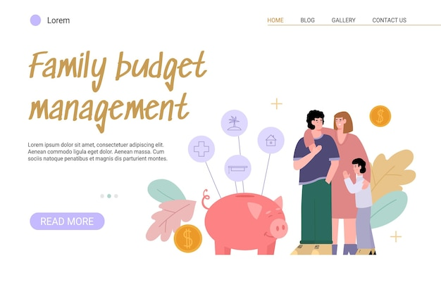 Planung der budgetfamilie. junge haushalte mit kind verwalten die hausfinanzierung, indem sie einnahmen und ausgaben zählen und geld sparen. vektor-illustration. vorlage für die zielseite.