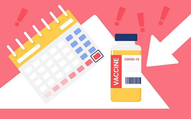 Planung der coronavirus-impfstoffzeit für die impfung der konzeptimpfflasche in der nähe des kalenders