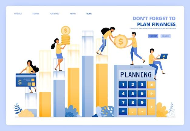 Planung des persönlichen und betrieblichen finanzmanagements. finanzbuchhaltung. illustrationskonzept kann für zielseite, vorlage verwendet werden
