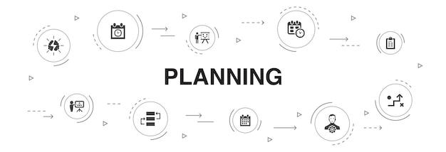Planung infografik 10 schritte kreisdesign. kalender, zeitplan, zeitplan, aktionsplan einfache symbole