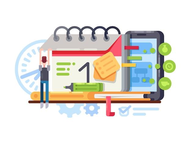 Planung und organisation. organizer mit kalender im smartphone. vektorillustration