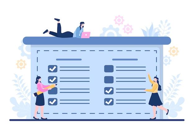 Planung von zeitplänen oder zeitmanagement mit kalender geschäftsmeetings, aktivitäten und events organisieren von prozessen büroarbeit. hintergrund-vektor-illustration