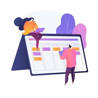 Planung. zeitplan erstellen und füllen. digitaler kalender. zeitmanagement, arrangieren, steuern. optimierung und effektive organisation von plänen. vektor isolierte konzeptmetapherillustration