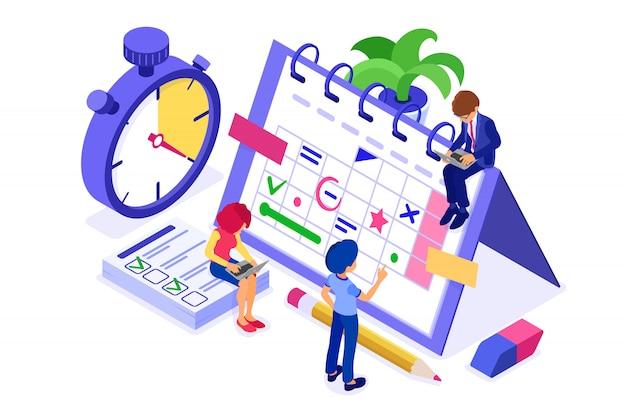 Planung zeitplan zeitmanagement geschäftsmann planung arbeit von zu hause aus mit stoppuhr wählt ziele auf zeitplan kalender frist zeit isometrische infografiken geschäft isoliert