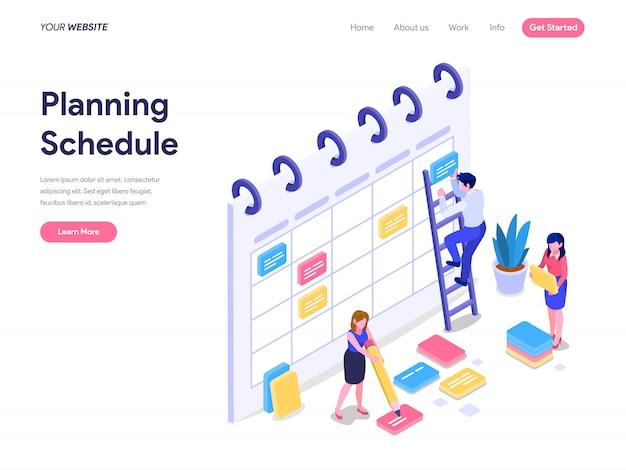 Planungs-isometrisches konzept für zielseite, benutzeroberfläche, website