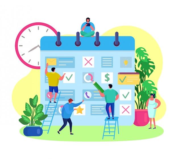 Planungsereignisse des geschäftsunternehmensteams, treffen im großen kalender, illustration. planen der arbeit in personengruppen durch erinnerung