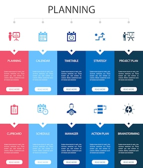 Planungsinfografik 10 option ui-design. kalender, zeitplan, zeitplan, aktionsplan einfache symbole