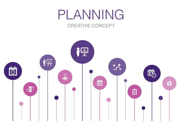 Planungsinfografik 10 schritte vorlage.kalender, zeitplan, zeitplan, aktionsplan einfache symbole