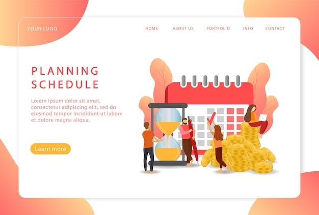 Planungsplan. kalenderorganisator. arbeitsplanung. landing page. moderne webseiten für websites.