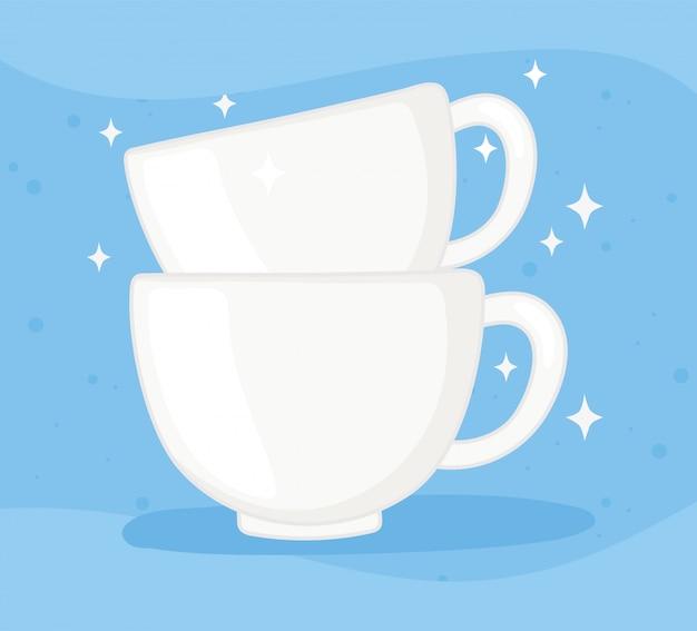 Plastik- oder glasbecherflaschen, keramische kaffeetassen leere vektorillustration