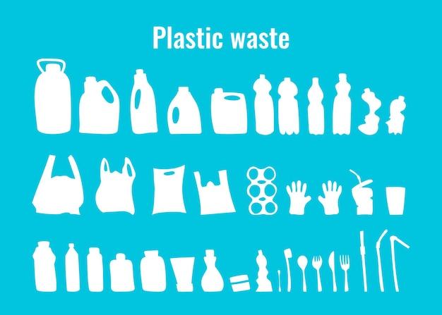 Plastikbehälter und einweggeschirr stellen vektorillustration ein. problemsymbole für plastikmüll