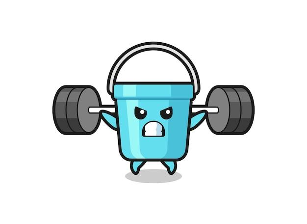 Plastikeimer-maskottchen-cartoon mit einer langhantel, süßes design für t-shirt, aufkleber, logo-element