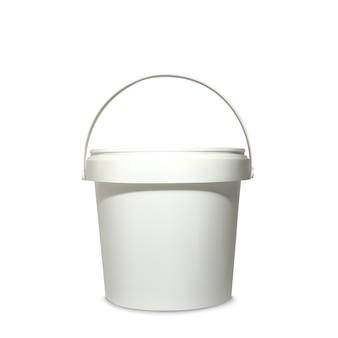 Plastikeimerillustration des realistischen weißen behälters 3d für modellmodell des markenpakets