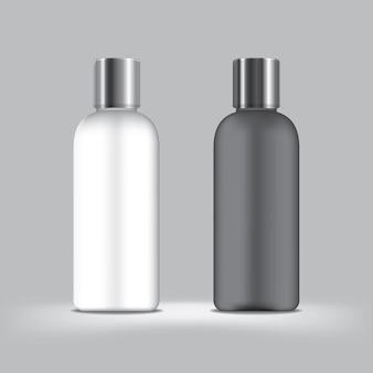 Plastikfarbe schwarzweiss auf grauem hintergrund