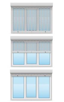 Plastikfenster hinter metallperforierten rollladenvektorillustration