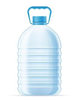 Plastikflasche für transparente illustration des trinkwassers lokalisiert auf weißem hintergrund