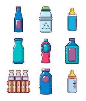 Plastikflasche-icon-set. karikatursatz plastikflaschenvektorikonen eingestellt lokalisiert