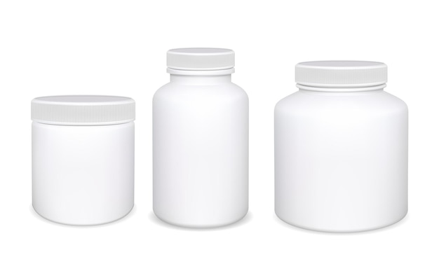 Plastikflasche isoliert. weiße ergänzungspillenflaschen.