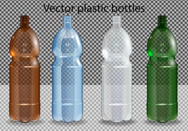 Plastikflasche mit mineralwasser auf alpha transparent. fotorealistische flasche