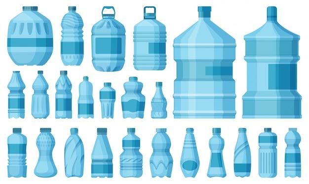 Plastikflaschen-cartoon-satzikone. abbildung wasserbehälter.