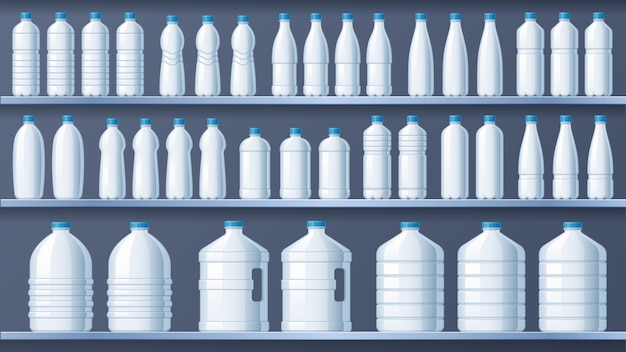Plastikflaschen in regalen. abgefülltes regal des destillierten wassers, flüssige getränke und vektorillustration des reinen mineralwasserspeichers