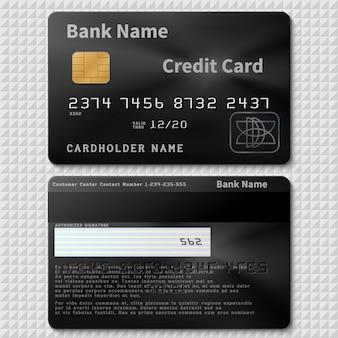 Plastikkreditkarte der realistischen schwarzen bank mit der chipschablone lokalisiert. kreditkarte aus plastik, name des inhabers der bankkarte