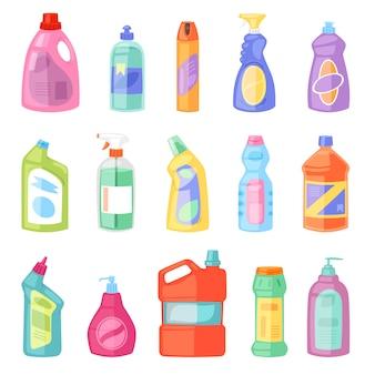 Plastikleerbehälter des reinigungsmittelflaschenvektors mit reinigungsmittelflüssigkeit und haushaltsreinigerprodukt für wäschereiillustrationssatz des reinigungsreinigungspakets
